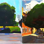 "Big Tree Diptych by Kevin Inman. Big Tree, South Park (left), Big Tree Outside the Venice Biennale (right). Each panel 16x16"" oil on panel."