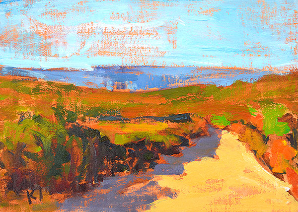 "Four Landscape Interventions: The New Hiking Trail Outside Irvine. 5 x 7"" Oil on linen"