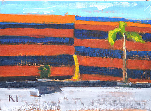 """Four Landscape Interventions: Termite Tented Motel in Mission Valley. 5x7"""" oil on linen"""