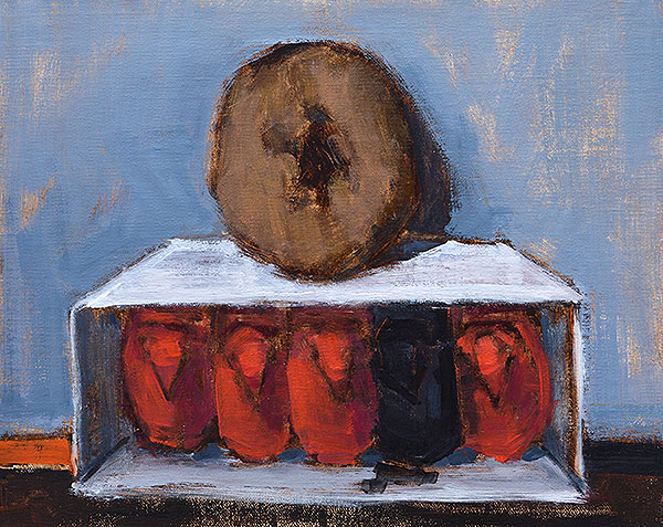 """Apotheosis of a Donut. 8 x 10"""", Oil on panel. From the series Elevator Music by Kevin Inman"""