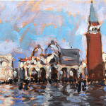 "Four Landscape Interventions: Piazza San Marco, Venice, Flooded. 5 x 7"" Oil on linen"