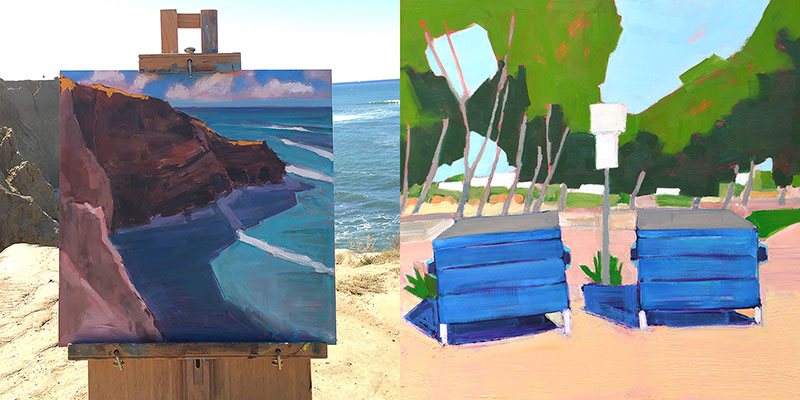 """From the Sublime to the Ridiculous Diptych by Kevin Inman. Sunset Cliffs (left), Dumpsters in Sunset Cliffs Parking Lot (right). Each panel 16x16"""" oil on panel."""